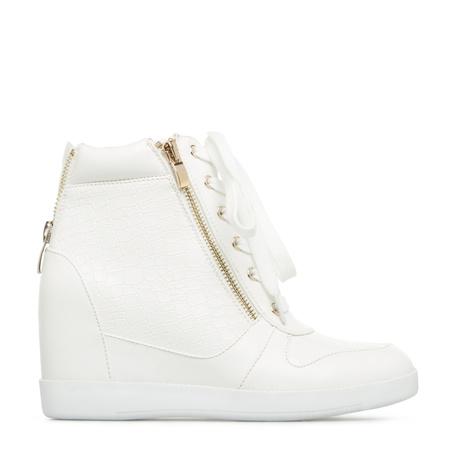 White Wedge Heel Sneakers | Tsaa Heel