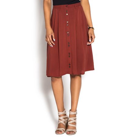 THE BUTTON FRONT MIDI SKIRT