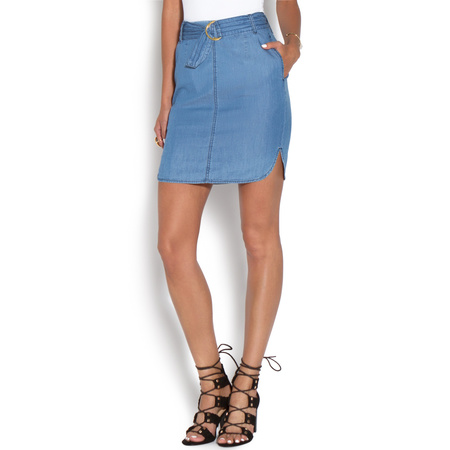 CHAMBRAY BELTED SKIRT