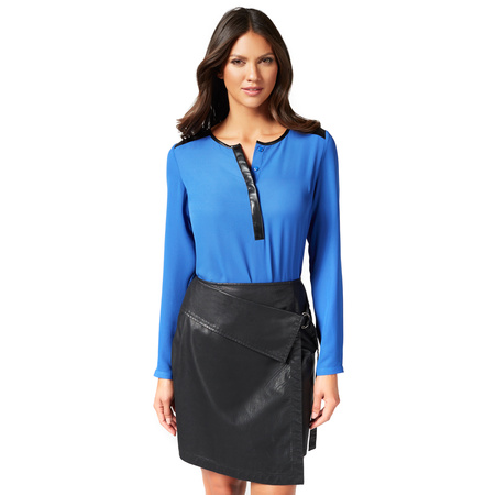 FOLD OVER FAUX LEATHER SKIRT